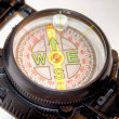 Compass on white background can symbolize strategy or direction — 图库照片