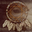 Stock Photo: Americdreamcatcher with wolf eye