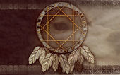 American dreamcatcher with wolf eye — Stock Photo