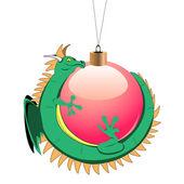 Tiny dragon with christmas ball — Stock Vector