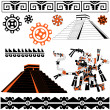 Mayan patterns on white - Image vectorielle