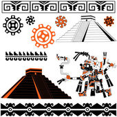 Mayan patterns on white — Stock Vector