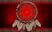 Kırmızı zemin üzerine dreamcatcher — Stok fotoğraf