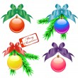 Christmas balls with color bows — Stock Vector