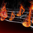 Stock Photo: Burning music