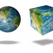 Earth square globe — Stockfoto