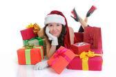 Christmas Smiling Woman — Stock Photo