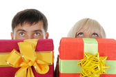 Blonde with a gift — Stock Photo