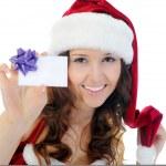 Kerstmis lachende vrouw — Stockfoto