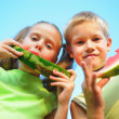 Stock Photo: Young girl and boy eating watermelon