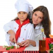 Little Chef in uniform. — Stock Photo