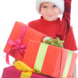 Cheerful boy in Santa Claus hat — Stock Photo