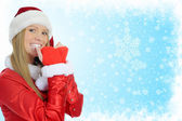 Christmas Smiling Woman — Stock Photo