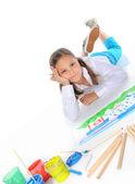 女孩绘制 — 图库照片