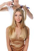 Stylist updo unga blonda kvinnan — Stockfoto