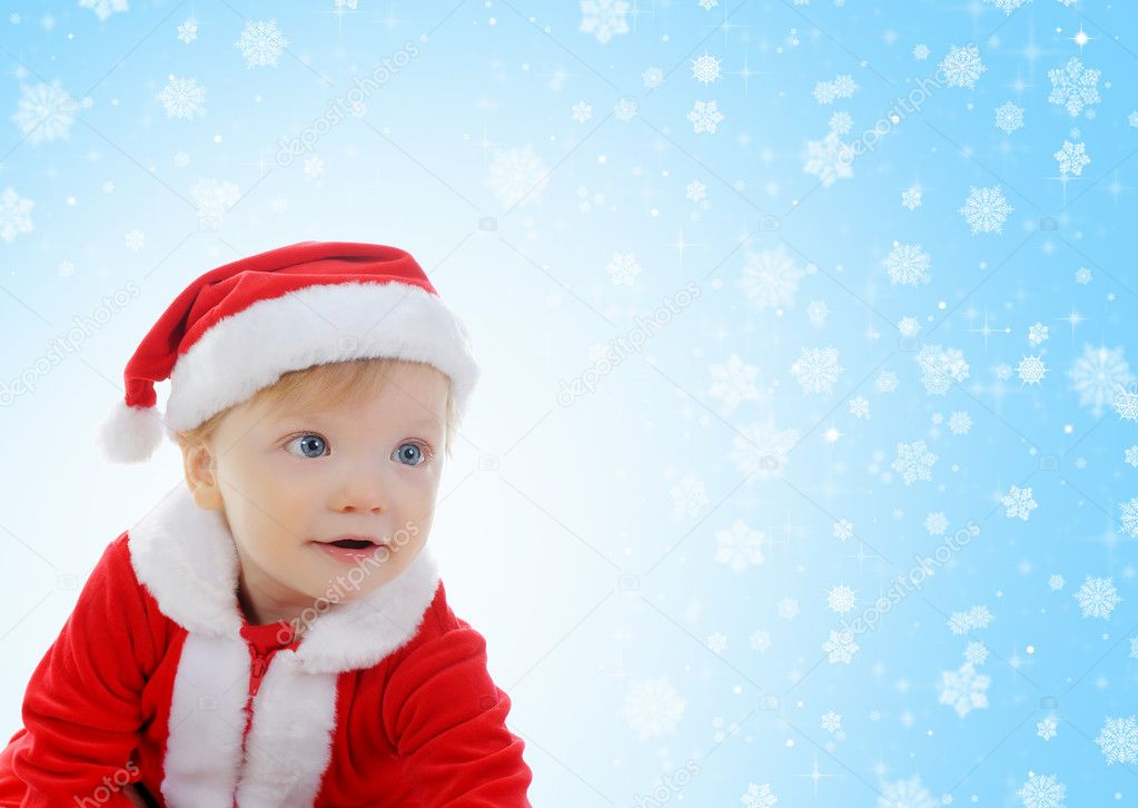 Cheerful little boy in Santa Claus hat. — Stock Photo #7726584