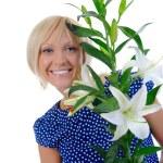 mujer con lily — Foto de Stock