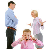 Parents share child. — Stock Photo