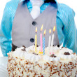 Beautiful little boy celebrates birthday — Stock Photo