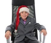 Cheerful boy in Santa Claus hat — Stock Photo