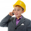 Stock Photo: Little smiling builder in helmet