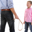 Strict father punishes his son — Stock Photo #7904966