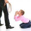 Strict father punishes his son — Stock Photo #7905643