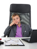 Young businessman using a laptop — Foto Stock