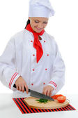 Chef cuts the tomato — Foto Stock