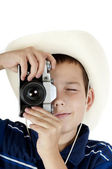 The young boy photographs — Stock Photo
