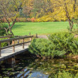 Lake and bridge in a botanical garden - Stock Photo