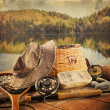 Fly fishing equipment  with vintage look - Stok fotoğraf