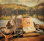 Fly fishing equipment with vintage look — Stok fotoğraf