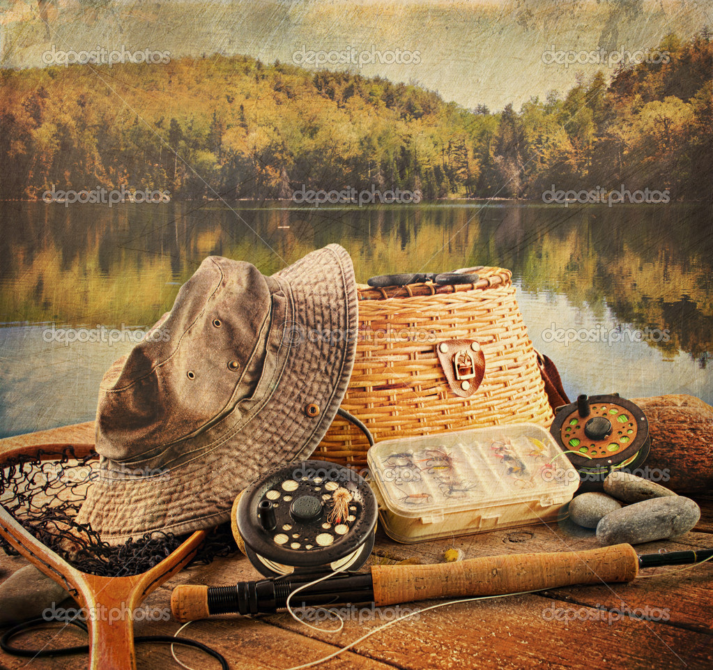 Fly fishing equipment with vintage look stock photo for Fly fishing equipment