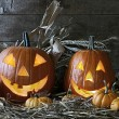 Stock Photo: Halloween pumpkins in the barn