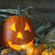 Carved jack-o-lantern lit for Halloween - Stock Photo