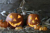 Halloween pumpkins in the barn — Stock Photo