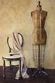 Antique dress form and chair with vintage feeling — Stok fotoğraf