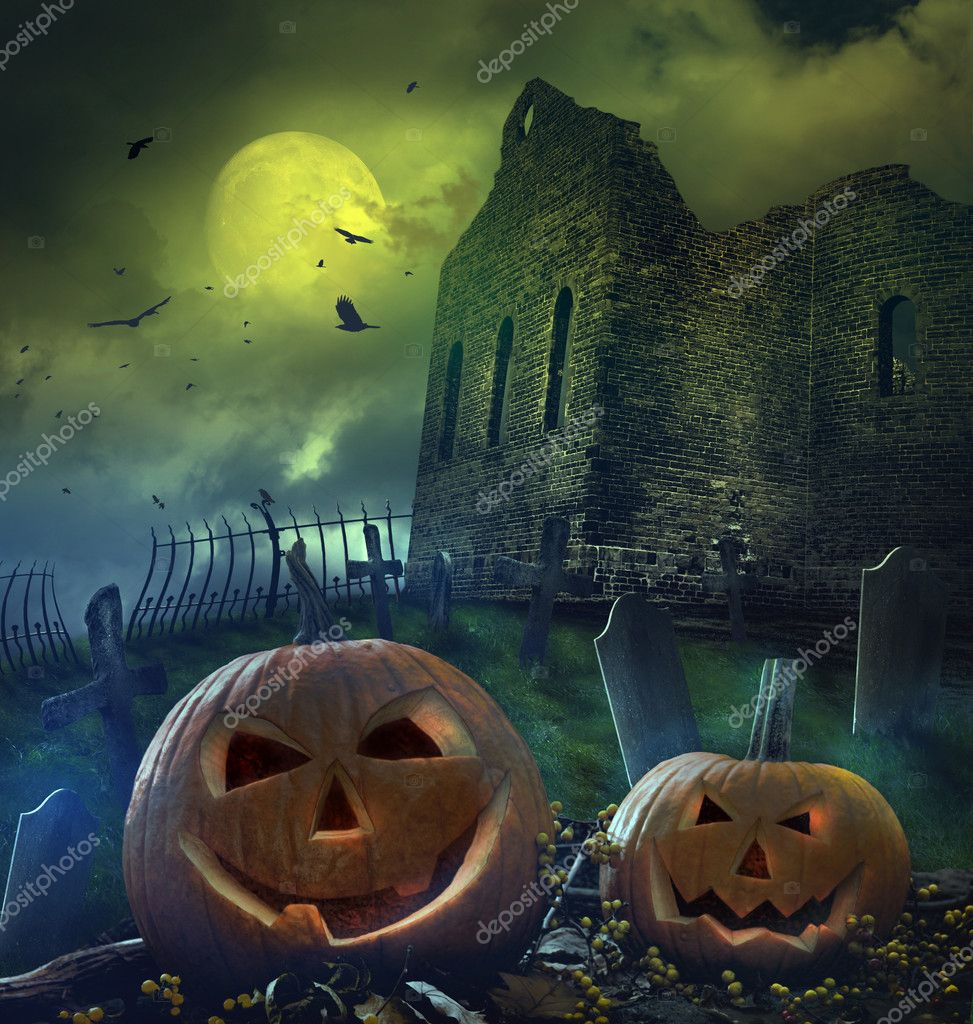 Pumpkins in graveyard with church ruins — Stock Photo #7006691