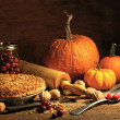 Freshly baked pie with pumpkin , nuts and cranberries — Zdjęcie stockowe #7229147