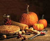 Freshly baked pie with pumpkin , nuts and cranberries — Stockfoto