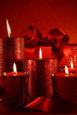Christmas candles on vintage background — Stock Photo