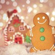 Gingerbread man cookie standing beside house - Stock Photo