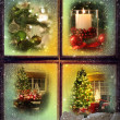 Vignettes of Christmas scenes seen through a wooden window - Stockfoto