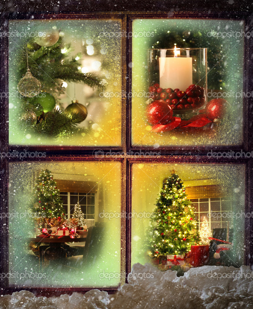 Vignettes of Christmas scenes seen through a snowy wooden window — Stock Photo #7744251