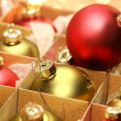 Collection of Christmas balls in box — Stock Photo