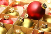 Collection of Christmas balls in box — 图库照片