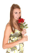 Girl with rose. — Stock Photo