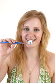 Girl brushing teeth. — Stock Photo