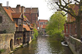 Classic view of channels of Bruges. — Stock Photo